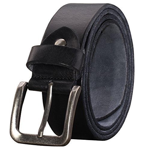 Mens Grain Top - PAZARO Mens Super Soft Top Grain 100% Leather Belt, Black 006, Belt 31 inch (Waist:up to 30 inch)