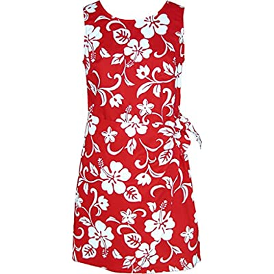 RJC Women's Hibiscus Pareo Hawaiian Mock Wrap Sarong Dress at  Women's Clothing store