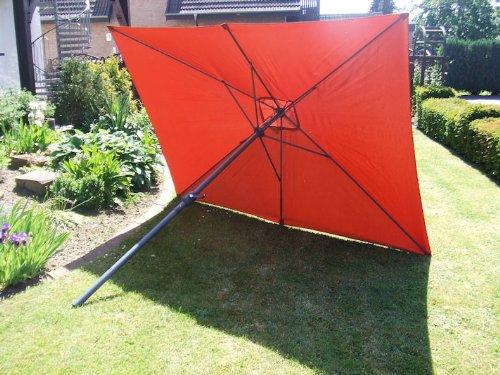 Alu Sonnenschirm 2x3m mit Kurbel - terracotta - Kurbelschirm