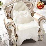 Hughapy Luxury Shiny Soft Faux Sheepskin Rug Mat Carpet Pad Anti-Slip Chair Sofa Cover Christmas Home Decor (23.5″ x 35.5″, White) For Sale