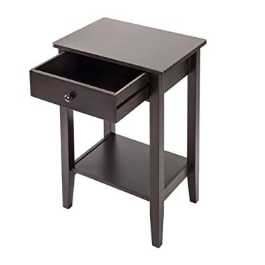 Cypressshop Two Layers Nightstands Beside End Table Night Stand Bedroom Side Bed Desk Couchside Organizer Storage Cabinet with Drawer Home Furniture