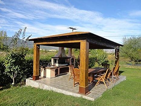 Barbacoa de obra Polysinthetos – compuesta por barbacoa, horno y lavamanos: Amazon.es: Jardín