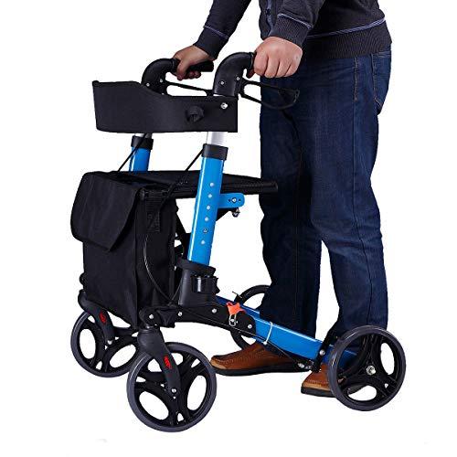 WDXIN Andador para Ancianos Plegable Regulable En Altura Aleación De Aluminio Viajes Polea con Asiento Caminante Cuatro...