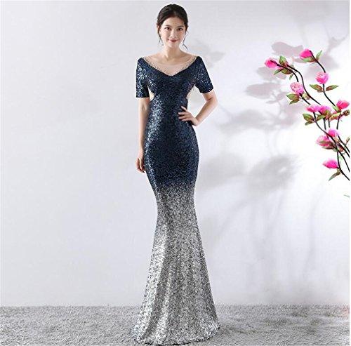 Gradient Dress Elegence z l Sirena Pretty Shiny blue Manica Prom Temperamento Da Abito Paillettes Sera Dress awBwq