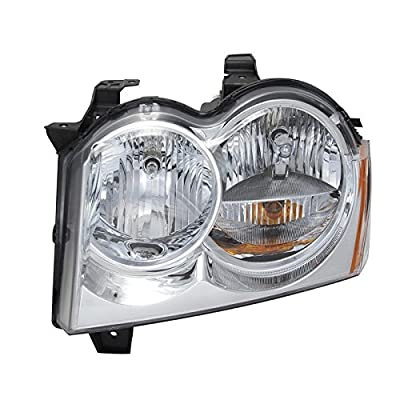 CarPartsDepot Headlight Assembly Replacement New Unit 2005-2007 Jeep Grand Cherokee Chrome LH