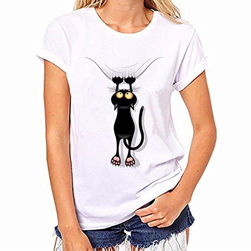 SKY Celebre por el Día del Vino!!! Las señoras forman impreso camiseta blanca Cotton Plus Size Short Sleeve lovely gato Print Tees Shirt S~XXXL Blanco