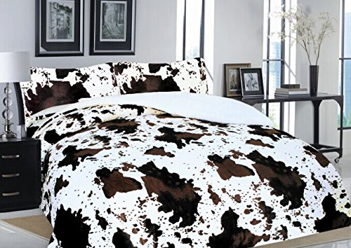 Linen Mart Western Rodeo Cowhide Print Design Borrego Fleece Blanket Style - 3 Piece Set (Queen/King, White)