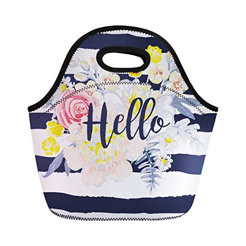 - Semtomn Neoprene Lunch Tote Bag Delicate Bouquet Striped Nautical for Tee Message Hello the Reusable Cooler Bags Insulated Thermal Picnic Handbag for Travel,School,Outdoors,Work