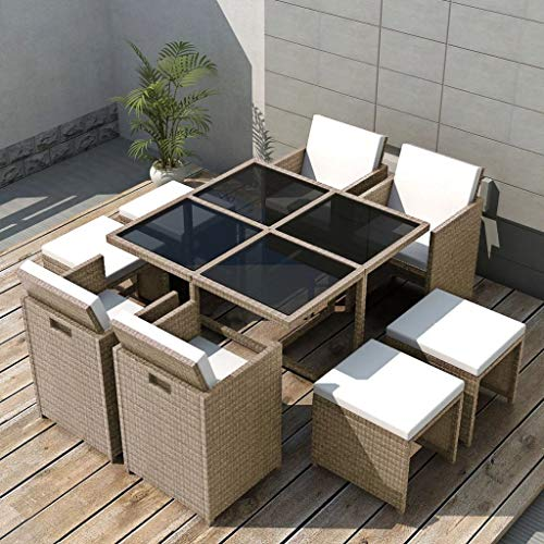 Festnight 9 Pieces Outdoor Patio Dining Set Poly Rattan Glass Top Dining Table with 4 Chairs and 4 Stool Sectional Conversation Set Garden Balcony Backyard Outdoor Furniture Space Saving