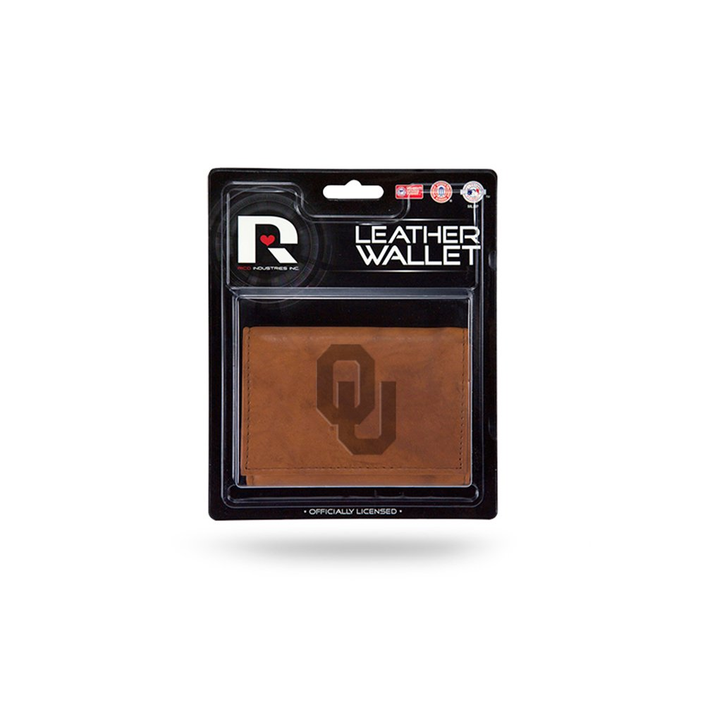 Rico NCAA Oklahoma Leather/Manmade Trifold Sports Fan Wallets, Multicolor, One Size