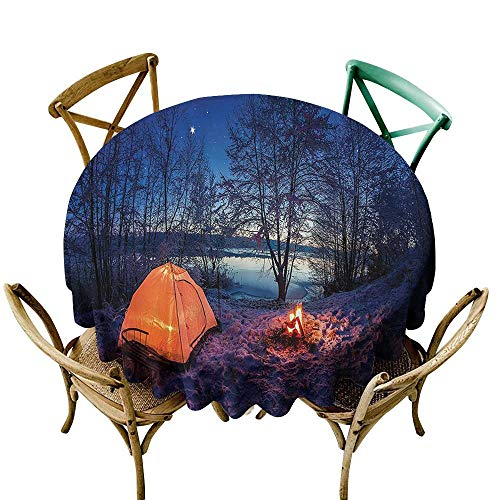 Spill-Proof Table Cover Apartment Decor Dark Night Camping Tent Photo in Winter on Snow Covered Lands by The Lake Table Cover for Kitchen Dinning Tabletop Decoratio 60 INCH Blue Orange