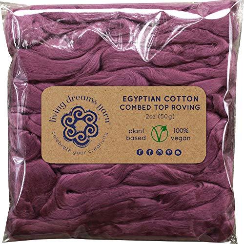 Cotton Fiber for Spinning, Blending, Felting & Fiber Arts. Soft Vegan Combed Top. Mauve ()