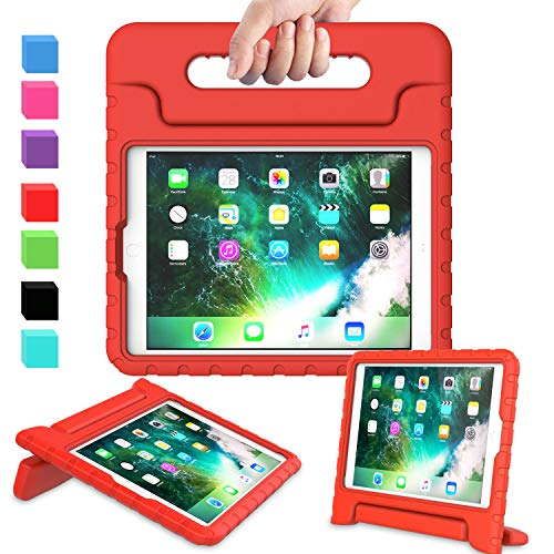 AVAWO Kids Case for New iPad 9.7 2017 & 2018 Release - Light Weight Shock Proof Convertible Handle Stand Friendly Kids Case for iPad 9.7-inch 2017 & 2018 Previous Gen (iPad 5th & 6th Gen) - Red