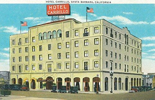 Santa Barbara, California - Exterior View of the Hotel Carrillo (12x18 Art Print, Wall Decor Travel Poster) - Hotel Santa Barbara California Art