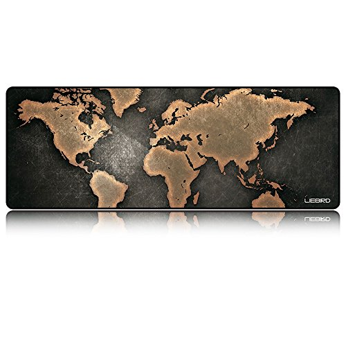 LIEBIRD Extended Xxl Gaming Mouse Pad - Portable Large Desk Pad for Laptop - Non-slip Rubber Base (Cool Map)