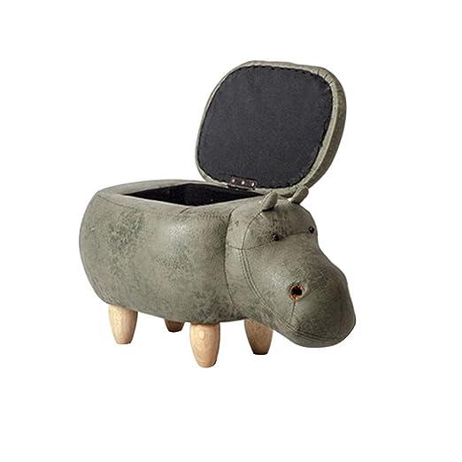 WANGJIN-Reposapiés Taburete de Cuero para Animales Otomano ...