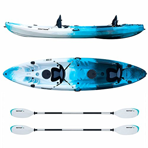 Driftsun Teton 120 Hard Shell Recreational Tandem Kayak, 2 or 3 Person Sit On Top Kayak Package with 2 EVA Padded Seats, Includes 2 Aluminum Paddles, Fishing Rod Holder Mounts