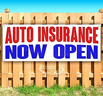 New AUTO Insurance Now Open 13 oz Heavy Duty Vinyl Banner Sign with Metal Grommets Advertising Store Many Sizes Available Flag,