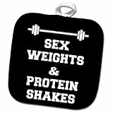 3dRose BrooklynMeme Funny Saying - Sex weights and protein shakes on black background - 8x8 Potholder (phl_221921_1)