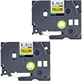 TZe-621 Label Tape, LaBold 2 Pack Black on Yellow Standard Laminated Label Tape Cartridge 0.35'' X 26.2'(9mm x 8m) Compatible for Brother P-touch TZ TZe 621 TZ-621 TZe-621
