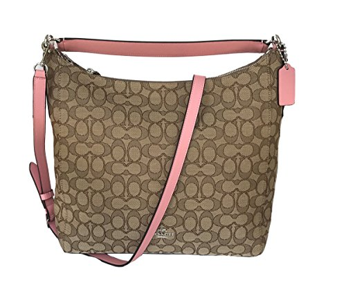 Coach Outline Signature Celeste Hobo Shoulder Crossbody Bag Purse Handbag (Khaki/Blush) by Coach
