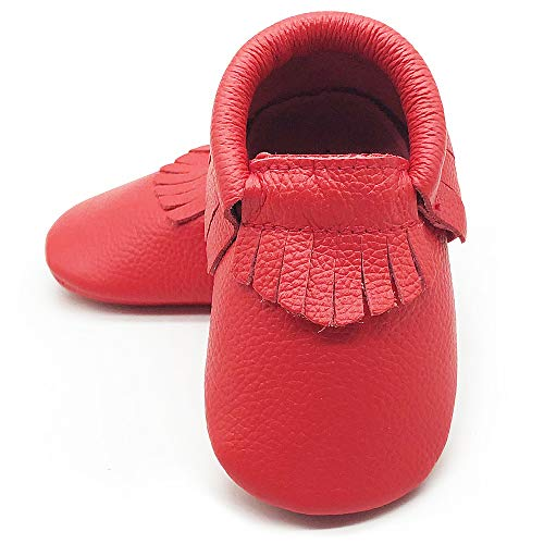 - Owlowla Baby Moccasins Leather Soft Sole Newborn Crib Shoes for Boys and Girls(Ruby red,US5.5)