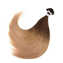 """Ty.Hermenlisa 18"""" Silky Straight Fusion Nail U Tip Hair Extensions 100% Real Virgin Remy Human Hair, 50strands/Pack, 40g, Light Golden Brown Blonde(#T402.404.18)"""