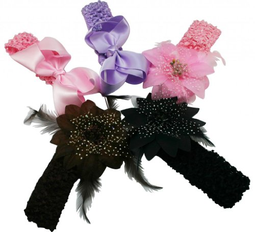 """Generic Children's Assorted Flower Headband With Soft Stretch Crochet And Alligator Clip(Pack Of 5) Size:11""""X4.5""""X1"""""""