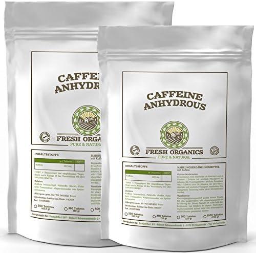 Koffein | 500 (2x 250) Tabletten á 200mg | Großpackung | Caffeine Anhydrous | 100% wasserfreies Koffein | Coffeinium | Natürlicher Wachmacher | Energie-Level & Stoffwechsel | Premium Qualität
