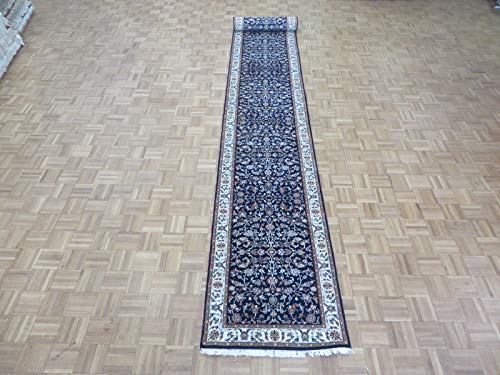 2'8 x 20 Runner Hand Knotted Navy Blue Persian Nain for sale  Delivered anywhere in USA