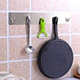 GreatGiftList Adhesive Hooks, Heavy Duty Wall Hooks Stainless Steel Ultra Strong Waterproof Hanger for Robe, Coat, Towel, Keys, Bags, Home, Kitchen, Bathroom, Key Hooks (A)