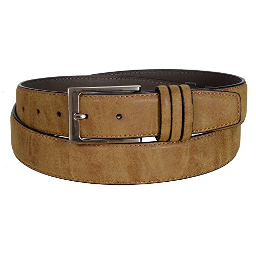 Landes Men's PU Split Leather Suede Belt with Durable Metal Buckle (Tan, 40)