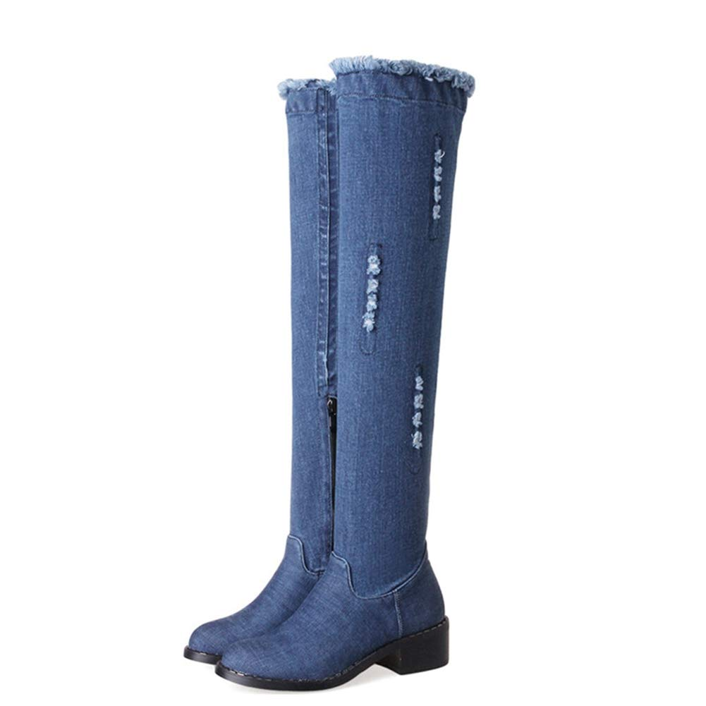 Side Hole Long Denim Boots Overknee Hole Heel Ladies bluee Autumn Tight Over The Knee High Riding Boots Women shoes