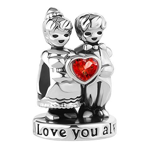 (Cherris Heart Love You Forever Love You Always Charms Beads Snake Chain Bracelets (i Love You Always))