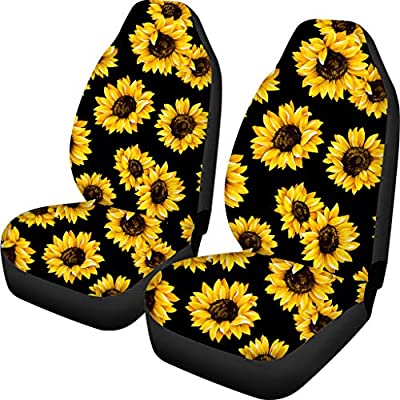 Babrukda Sunflower Design Car Seat Cover for Front Seat Universal Fit Flexible Polyester Back Driver Seat Cover Durable Washable: Automotive