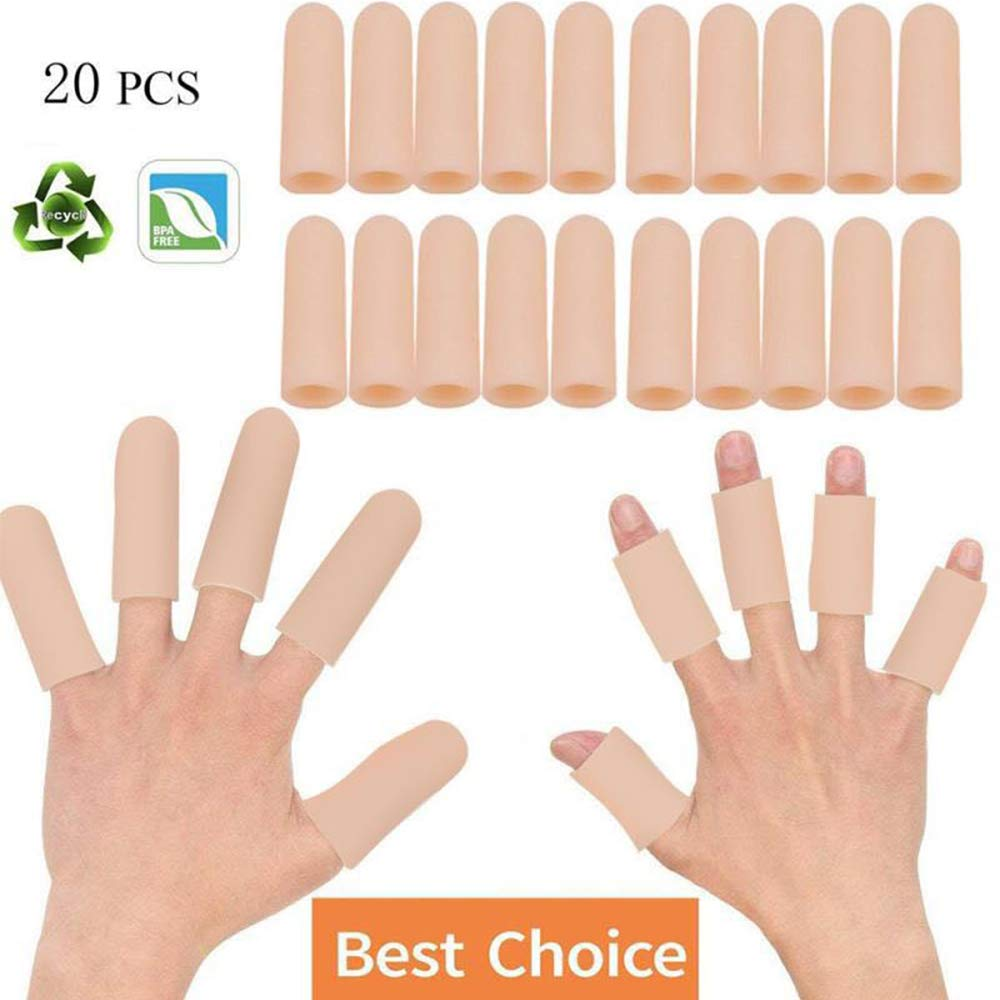 Sporting Style 20 Pieces Gel Finger Cover Silicone Finger Cots Protector for Women and Men Great for Trigger Cracking Arthritis Callus by Sporting Style
