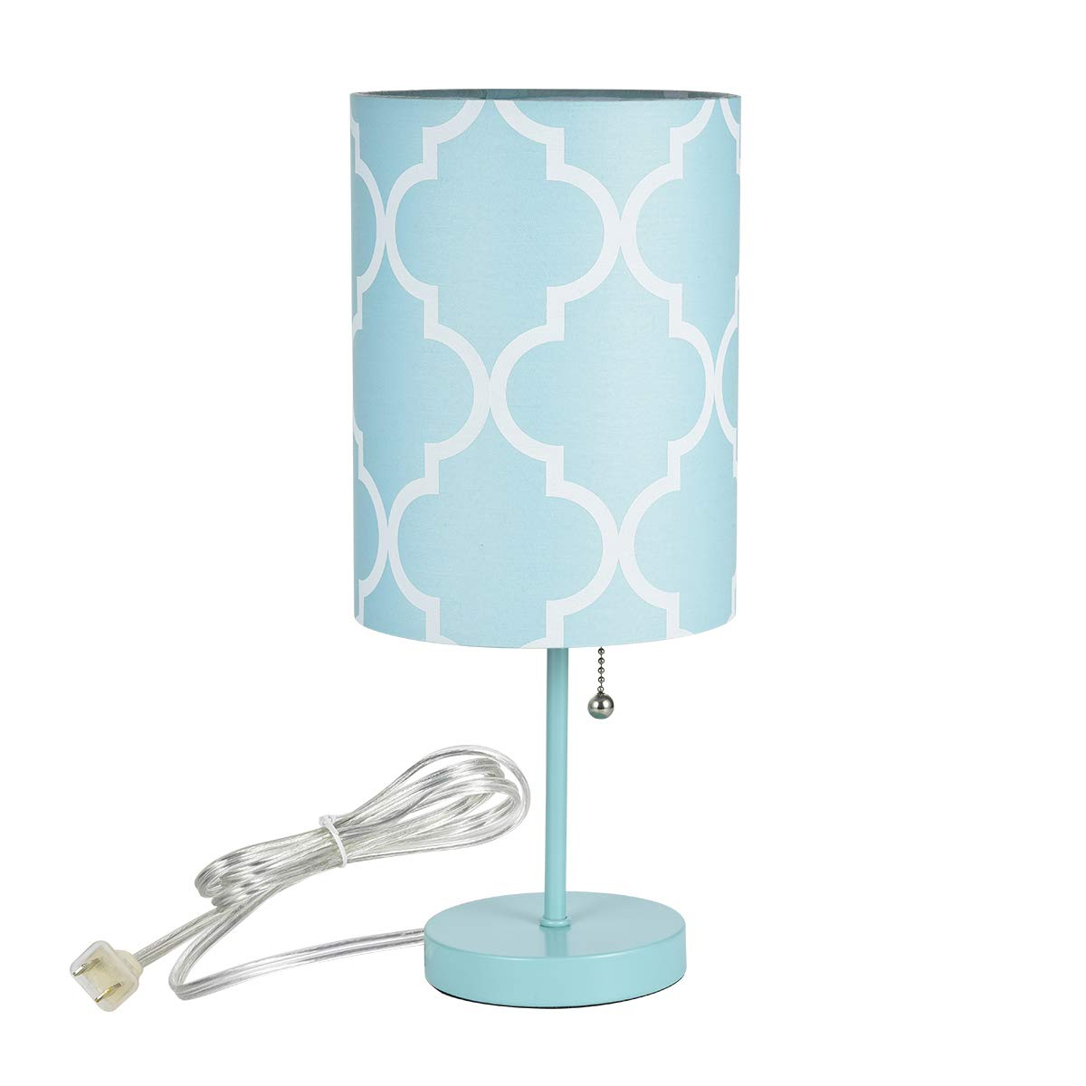 Bedside Table Lamp | Minimalist Table Lamp Bedside Desk Lamp with Round Flaxen Fabric Shade and Pull Chain Switch for Bedroom, Dresser, Living Room, Kids Room, College Dorm, Bookcase,Blue