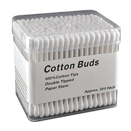 200 x bastoncillos de algodón papel tallo Make Up orejas aplicador toallitas de varillas doble Ended
