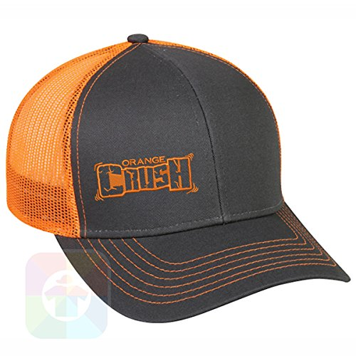 T-shirt Embroidered Hat (Custom Tshirts and Hats Orange Crush Structured Snapback Baseball Mesh Hat Cap #1317)