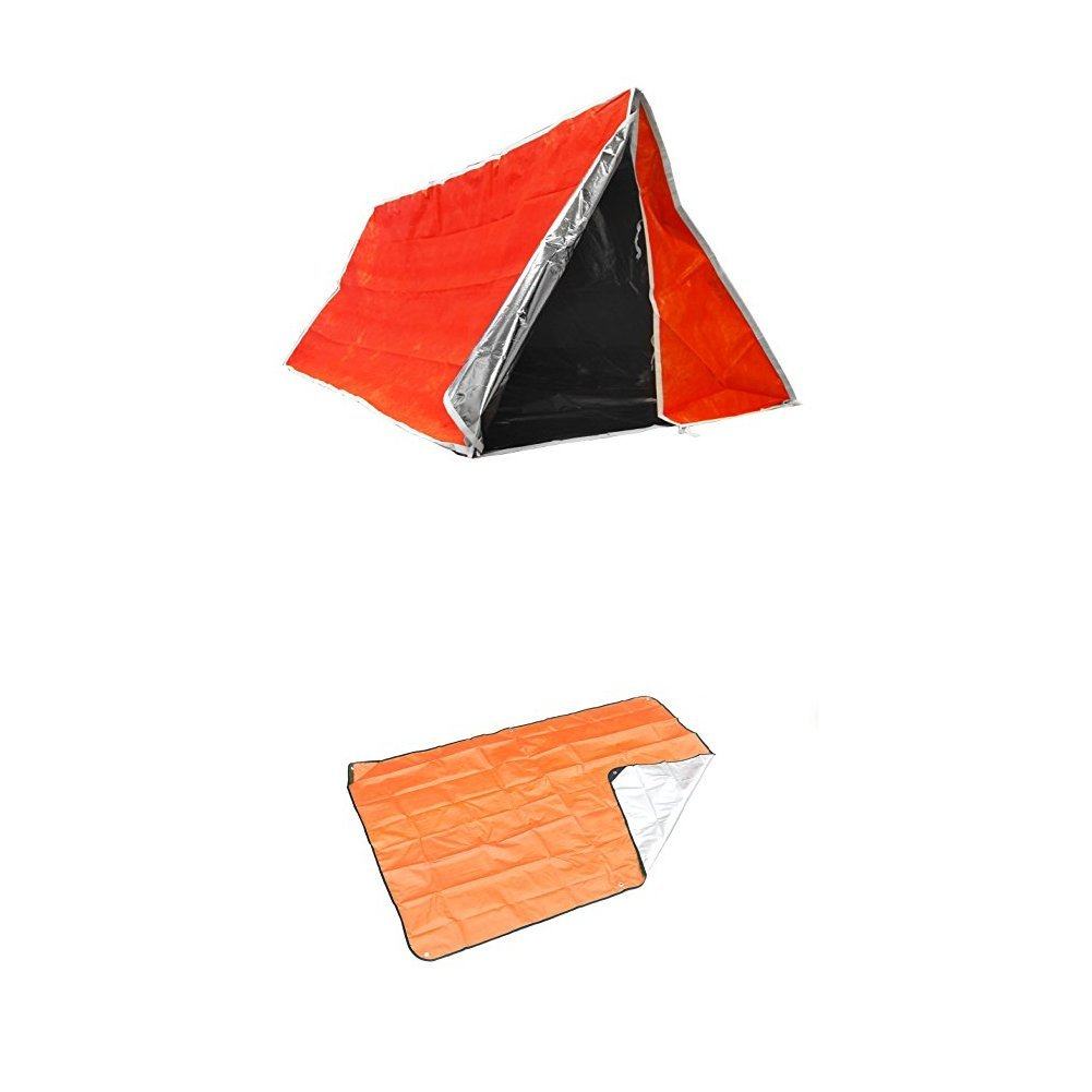 SE ET3683 Emergency Outdoor Tube Tent with Steel Tent Pegs with Blanket