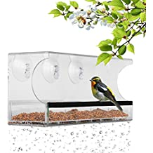 Window Bird Feeder with 3 Super Strong Suction Cups Removable Seed Tray Drain Holes Made of Clear Strong 11,8 x 5 Inches Acrylic Glass | Perfect Gift Idea