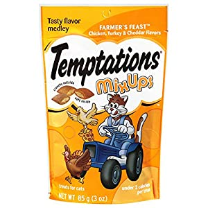 TEMPTATIONS MixUps Treats for Cats FARMER'S FEAST Flavor 3 Ounces (Pack of 12)