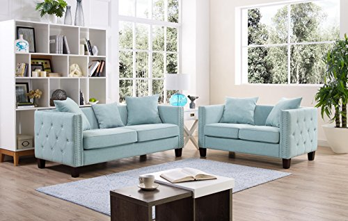 Mini 2-Piece Tufted Button Side, Nailhead Trim Studded Removable Cushion Linen Fabric Squared Style Loveseat, Sofa Set (Teal)