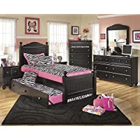 Jaidyn Youth Wood Poster Bed Room Set in Rich Black Finish, Twin Bed, Dresser, Mirror, 2 Nightstands