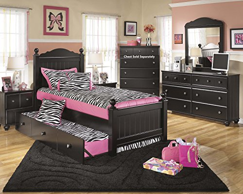 Jaidyn Youth Wood Poster Bed Room Set in Rich Black Finish, Twin Bed, Dresser, Mirror, 2 Nightstands by FurnitureMaxx