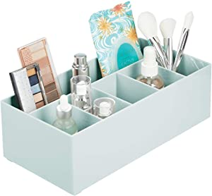 mDesign Plastic Cosmetic Organizer Storage Center with 6 Sections for Bathroom Countertops, Vanity - Hold Makeup Brushes, Lipstick, Lip Gloss, Concealers, Mascara, Palettes, Eye Pencils - Mint Green