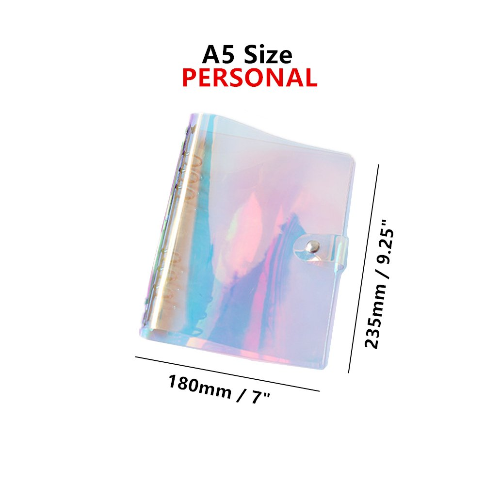 MEI YI TIAN Personal A5 Size 7''x9.25'' 6-ring Rainbow Binder Covers Colorful Clear Soft PVC Notebook Round Ring Binder Cover Protector Snap Button Closure Loose Leaf Folder (Colorful, A5) by MEI YI TIAN (Image #2)