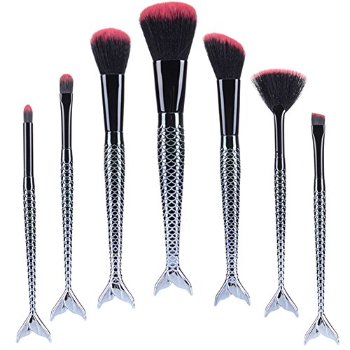 TTRWIN 7PCs Fashion Mermaid MakeUp Brushes Set Eyebrow Eyeliner Blush Foudation Cosmetic Tools