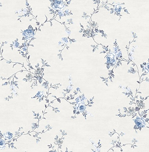Wallpaper Designer Blue and Gray Floral Rose Vine on Eggshell White