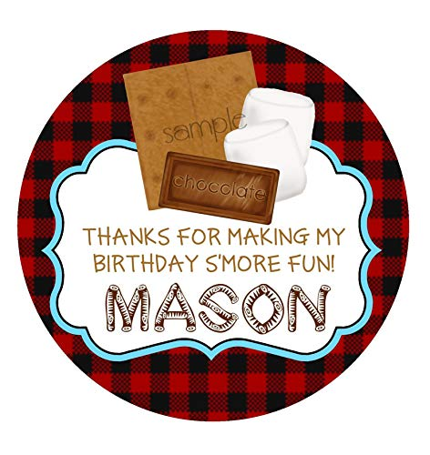 Smores Stickers Smore Camping Birthday Party Camp Out Glamping Favor Labels Smores Party Favors Woodland Lumberjack Baby Shower
